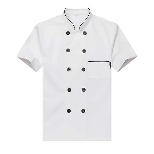 קצר שרוול שף אחיד חולצת גבר חולצות לנשימה מזון שירות משלוח לוגו הדפסת מאפיית לבשל מעיל סינר כובע אביזרים