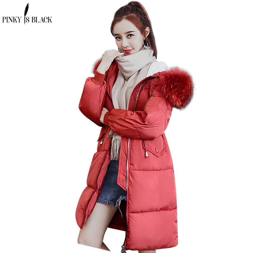 PinkyIsBlack Winter Jacket Women Faux Fur Collar Womens Coats Long Down   Parka   Lady Hoodies   Parkas   Warmer Classical Jackets 3XL