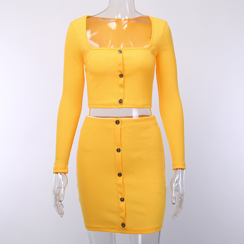 Cryptographic Fashion Outfits Bright Orange Women's Sets Buttons Long Sleeve Crop Tops Sexy Two Pieces Set Casual Bodycon Skirts 19