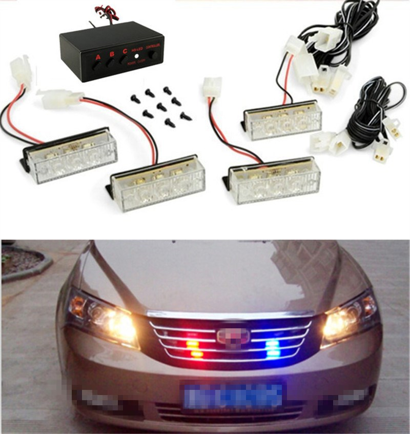 Blue / Red / Yellow White Car Truck LED Strobe Flash Warning Emergency  Front Bumper Grille Driving Light Bar