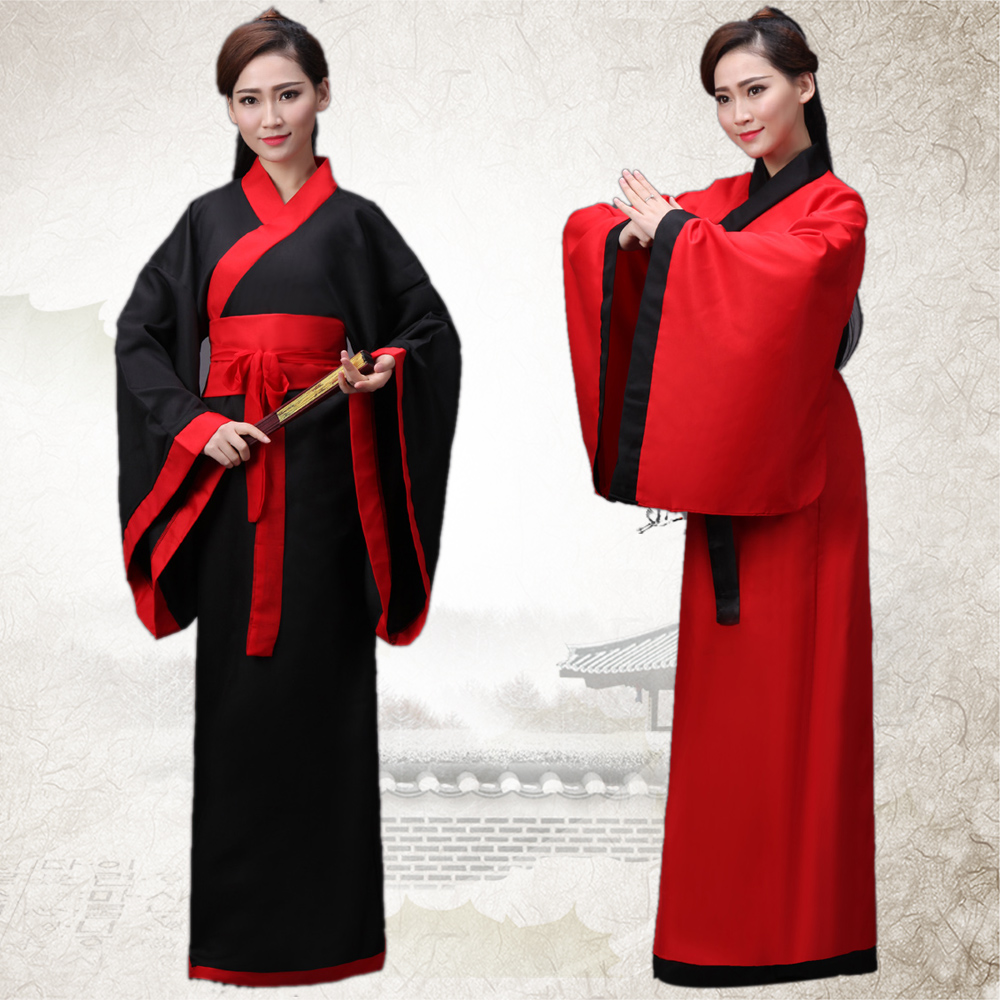 Hanfu Women's National Clothes Chinese Ancient Female Costume Black Red  Lady Chinese Stage Dress