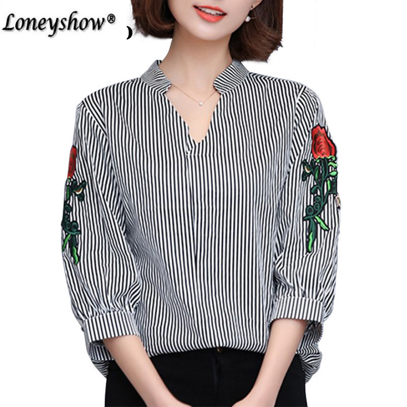 Rose Floral Embroidery Striped Blouse Women Half Sleeve Shirt Casual Cotton Blusa Plus Size 4XL Tops Office Lady Blusas 2018
