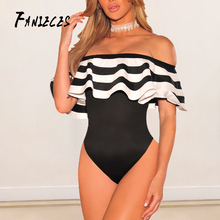 FANIECES Ruffles skinny Bodysuit 2019 Summer fasion Sexy Stripe Bodycon Party Club