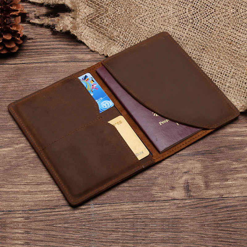Brown Genuine Leather Business Card Passport Cover Accessories For ...