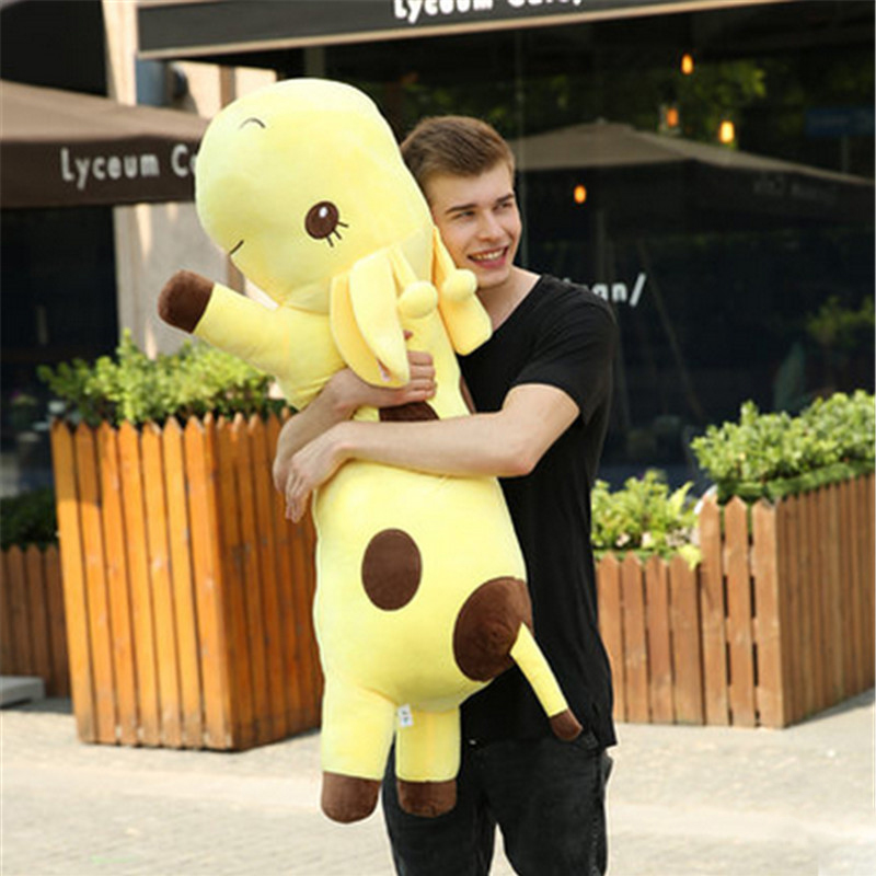 Fancytrader Giant Plush Animal Giraffe Toy Stuffed Soft Plush Large Lying Giraffe Doll Pillow 130cm 51incehs Yellow Green Blue stuffed animal cute yellow banana plush toy 130cm doll cushion throw pillow about 51 inch toy p0169