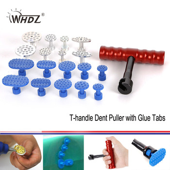 PDR Glue Puller T-handle Dent with 10 pcs Plastic Tabs 8 Aluminum for Paintless Repair set