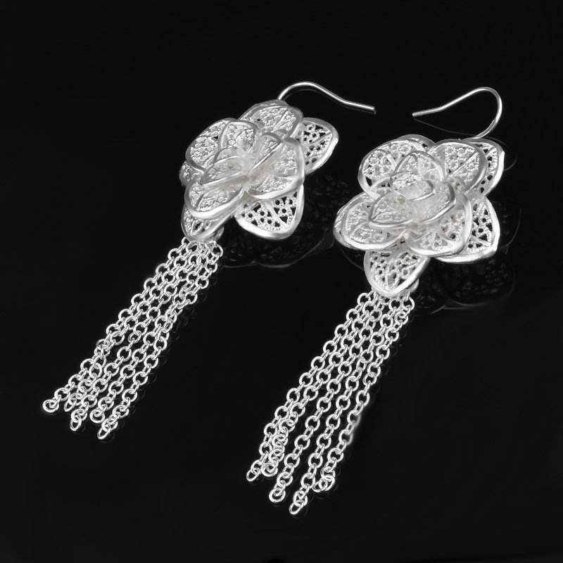 925 sterling silver earrings lengthened petals female retro silver earrings personalized charm earrings jewelery gifts