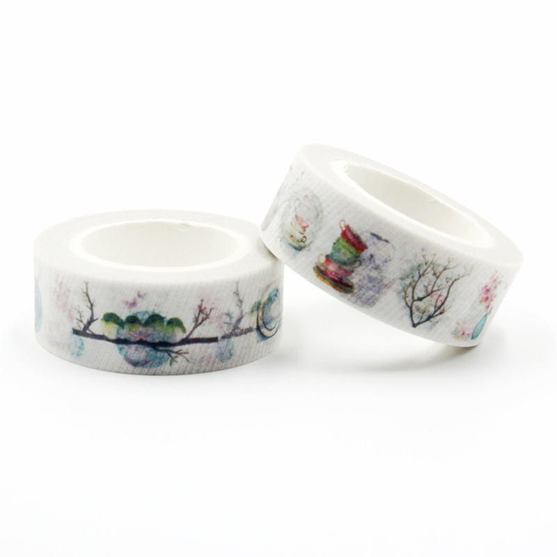1 PCS Size 15mm*10m DIY Japanese Bird On The Branch Washi Tapes Masking Tape Decorative Adhesive Tapes School Supplies