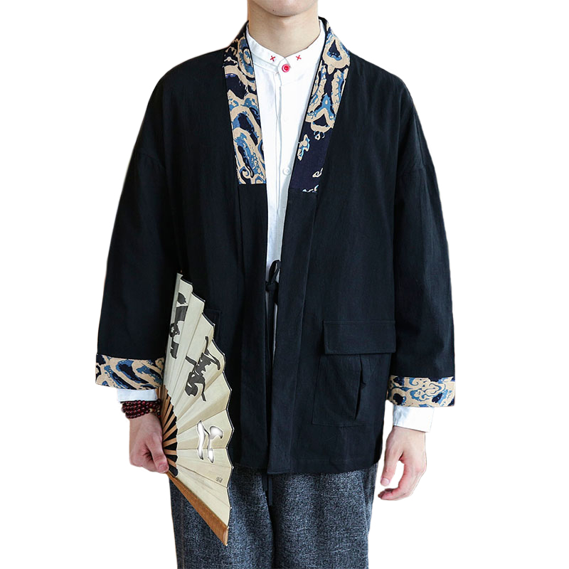 2019 Spring New Men Belt Outwear Shirts Chinese Vintage Style Male Cloak Coat Half Sleeve Loose Fashion Casual   Trench   M-5XL