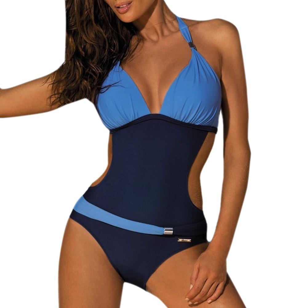 New Sexy Women Padded monokini Backless Bandage Swimsuit Bathing Suit Swimwear deep V one piece monokini Thong Bikini swimsuit  1