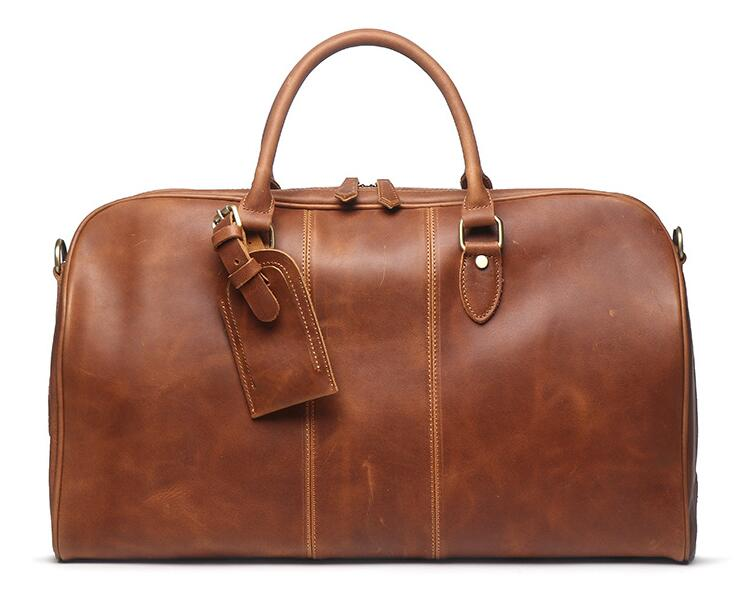 Genuine leather cow skin large casual travel duffle soft holdall for men high quality