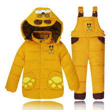 2016 New Arrive Baby Girls Boys Winter Down Sets Jacket +Pants, Kids Clothing Suits set,children girl down jacket suit 0-3 years