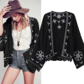 Boho Floral Embroidered Shirts Women Tribal Style Vintage Ethnic Kimono Cardigan Long Sleeve Loose Gauze Blouses Tops