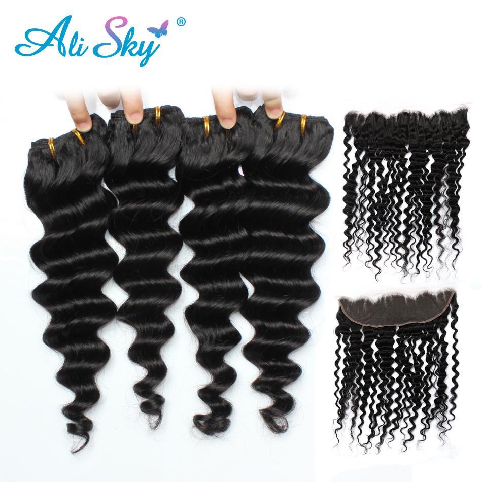 Alisky Hair Deep Wave Malaysian Hair Lace Frontal Closure With Bundles Human Hair 4 Bundles With