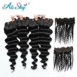 Alisky волосы глубокая волна Малазийские Волосы Кружева Фронтальная Закрытие с пряди человеческие волосы 4 пряди с 13x4 фронтальные волосы Remy