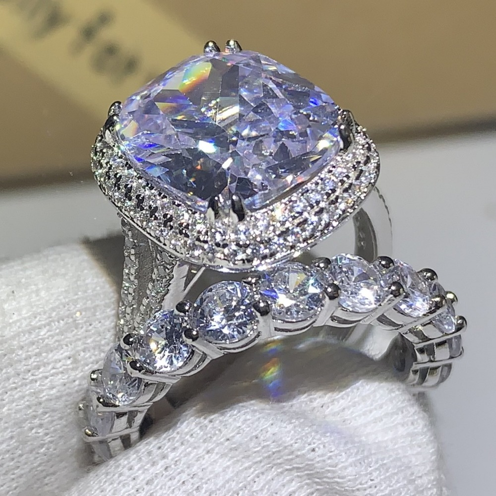 Choucong Classical Unique Jewelry 925 Sterling Silver Cushion Shape 5A Cubic Zirconia Big CZ Promise Wedding Engagement Ring SetChoucong Classical Unique Jewelry 925 Sterling Silver Cushion Shape 5A Cubic Zirconia Big CZ Promise Wedding Engagement Ring Set