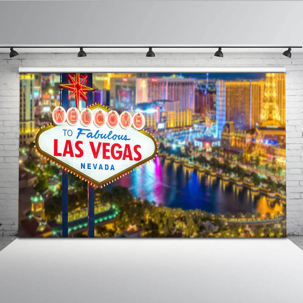 las vegas night sky City Casino river bokeh scene backgrounds Vinyl cloth High quality Computer print party backdrops