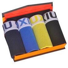 DEWVKV Sexy Boxershorts Men Cotton Boxer For Underpants Comfortable Soft Solid Plus Size Lot Lange Spandex Black 4Pcs/XXL JK