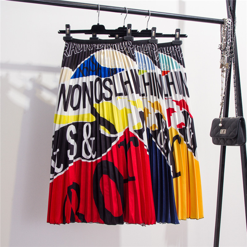 Fashion Contrast High Waist Pleated Skirt 2019 Autumn Winter Skirts Womens Elastic Waist A Line Midi Skirt Mid Calf Long Skirts