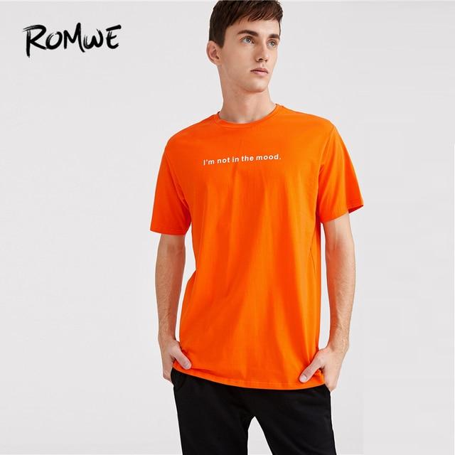 5f4f53da1 ROMWE Men Slogan Print Neon Orange Tee 2019 Mens Clothing Casual Orange  Short Sleeve Tops Comfort Young Summer T-Shirt