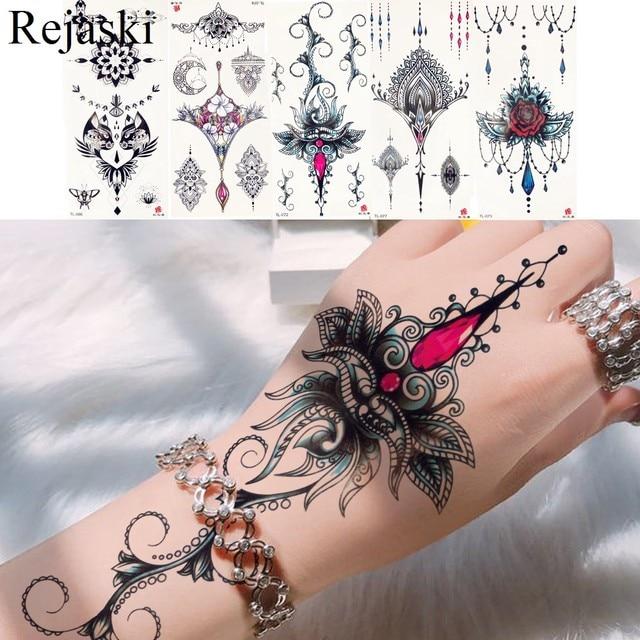 059 10 De Descuentotribal Colgantes Pulsera Tatuaje De Transferencia De Agua Mano Muchacha Cuerpo Pecho Arte Temporal Tatuaje Bajo Pecho Brazo