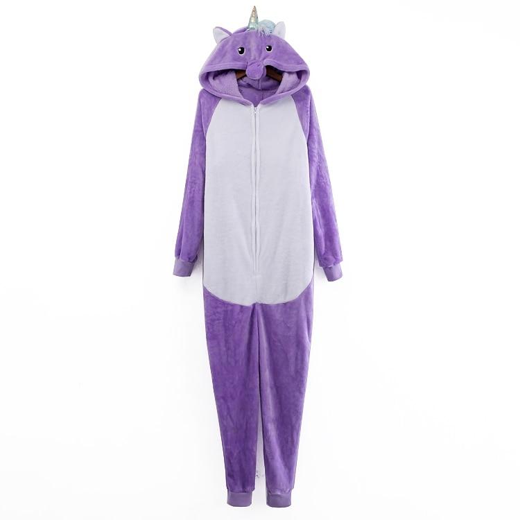 Winter unicorn couple fashion cartoon hooded collar long sleeve zipper purple + white home with body clothing