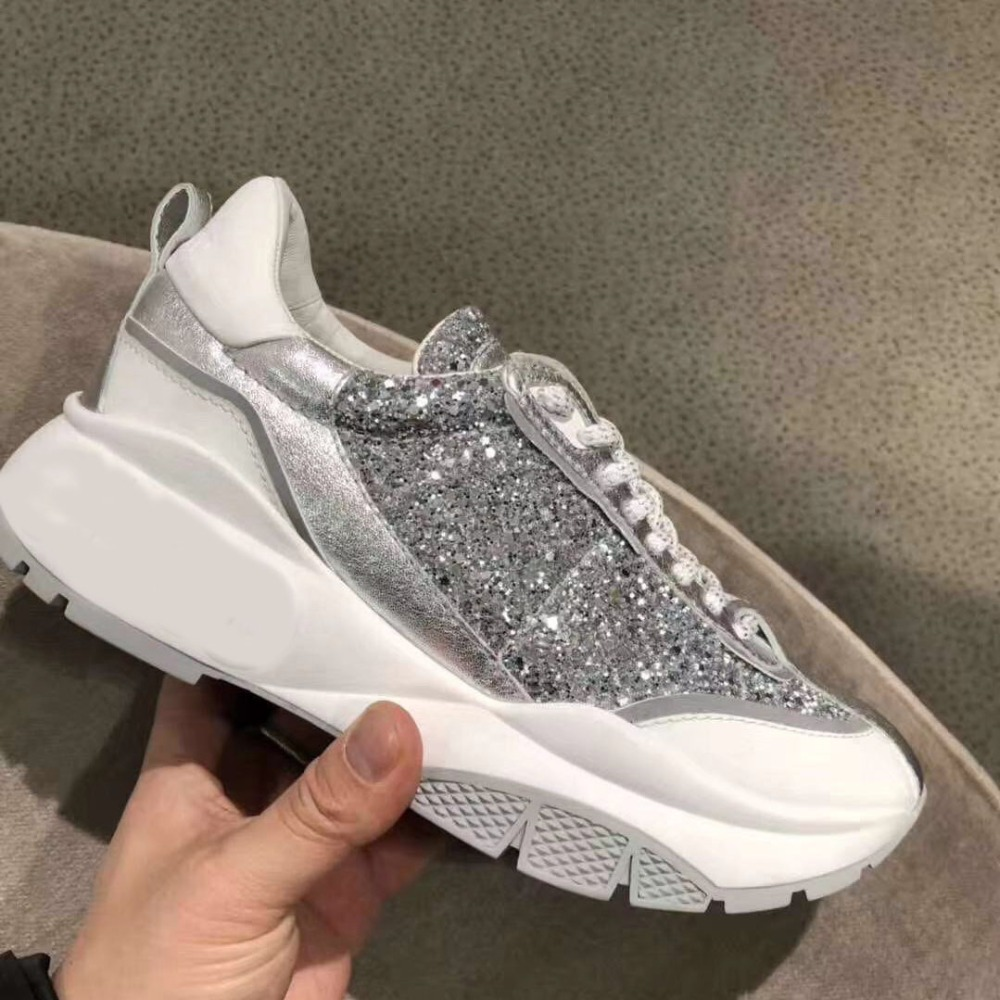 2019 Spring New Patchwork Sneakers Women Glitter Casual Shoes Lace-up Platform Sport Shoes Thick Heel Dad Shoes Tennis Sneaker
