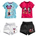 2017 summer Cartoon Toddler Baby Kids Girls Clothes Set Minnie Mouse Children boys Clothing Set T-Shirt + Shorts mickey Outfits