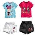2017 verão Dos Desenhos Animados Da Criança Do Bebê Crianças Meninas Roupas Definir Crianças Minnie Mouse Conjunto de Roupas meninos T-Shirt + Shorts mickey Outfits