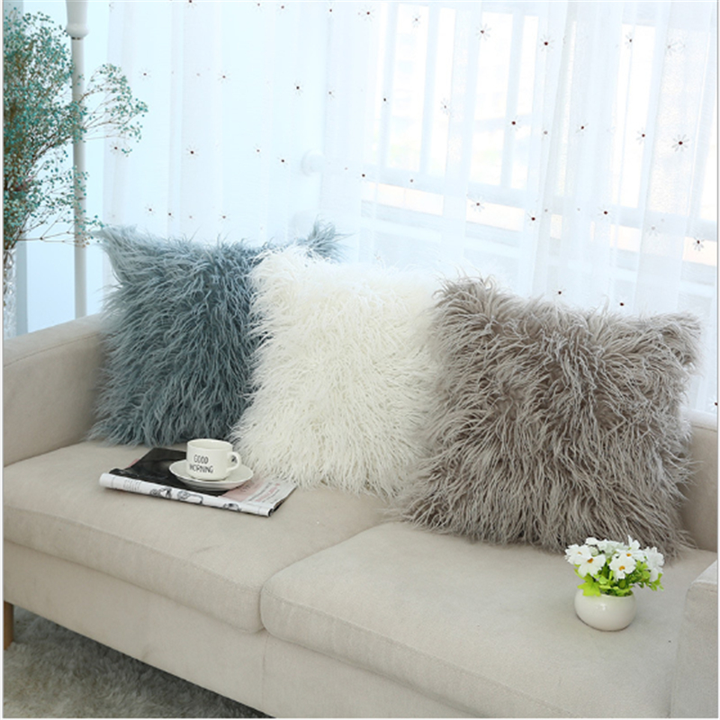 Nordic plush pillowcase cushion ins wind for car decoration office bedroom cute pillow 45x45cm