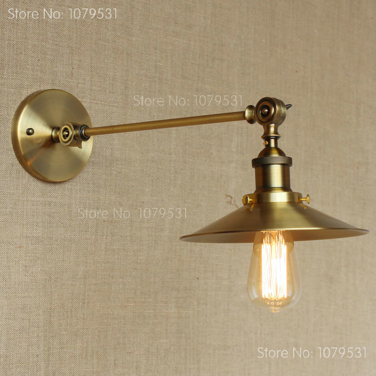 ФОТО American Vintage Wall Lamp Indoor Lighting Bedside Bronze Color  Iron LampShade Lamps Wall Lights For Home