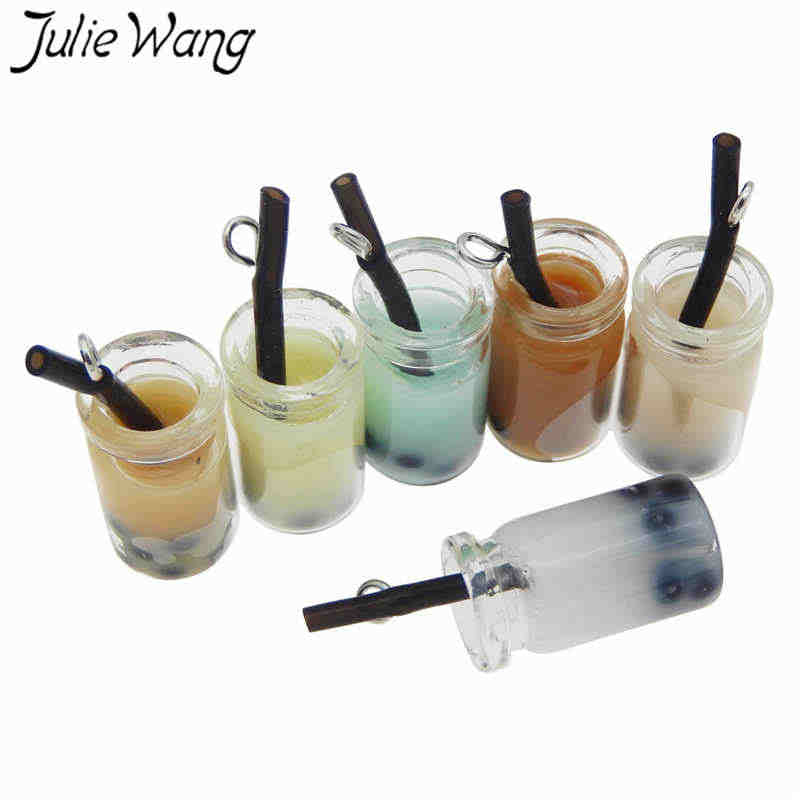 Julie Wang 6PCS Resin Fruit Juice Drink Milk Tea Charms Glass Bottle Artificial Food Pendants Necklace Jewelry Making Accessory