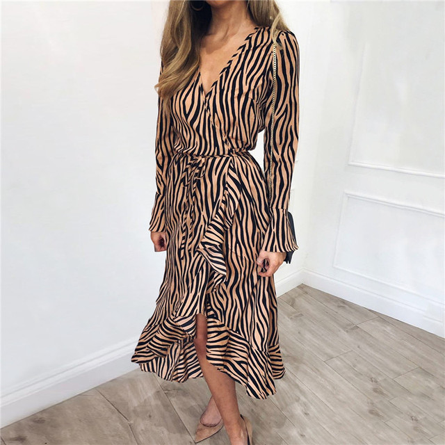 0c2f0e448f Summer Long Dresses 2019 Women Zebra Print Beach Chiffon Dress Casual Long  Sleeve V Neck Ruffles Elegant Party Dress Vestidos