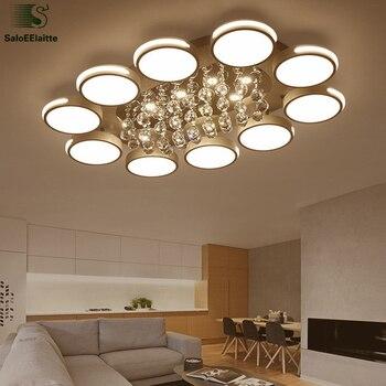 Poste moderno Lustre cristal Luminaria araña Metal Led techo araña Control remoto regulable Led araña iluminación