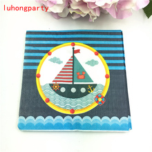 20pcs Sailboat theme Paper Napkins Food Festive Party Tissue Decoupage Sailing boat napkins 33*33cm