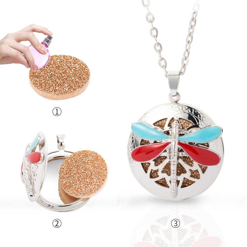 Stainless steel Necklace drop glaze Aromatherapy Pendant Essential Oil Perfume Aroma diffuser Small Box dragonfly Necklace A071