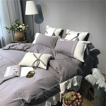 пуховое одеяло белое | 100% хлопок Queen King Size постельный комплект серый белый постельное белье мягкие простыни пододеяльник простыня Parure De Lit Ropa De Cama