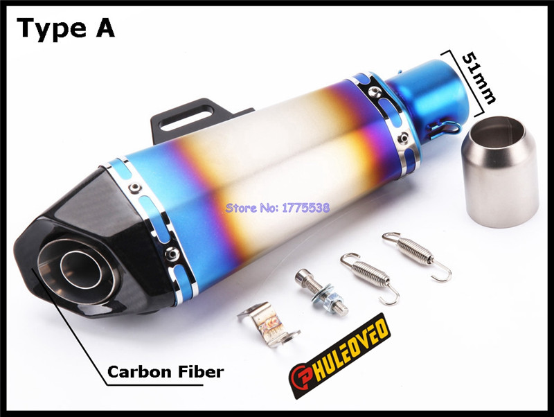 PHULEOVEO Carbon Fiber Inlet 51mm Universal Motorcycle Exhaust Muffler Pipe Escape with DB Killer Motorbike Exhaust Muffler