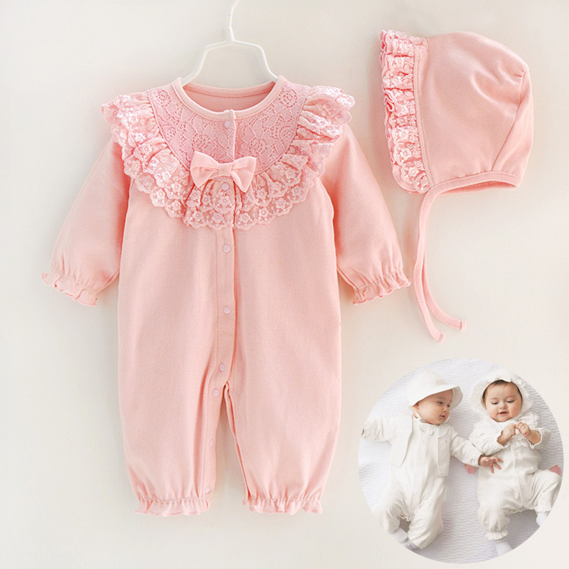 Baby Girl Romper Long Sleeve Princess Lace Flower Infant Dress Jumpsuit With Hat Cotton Bebe Rompers Newborn Baby Girl Clothes