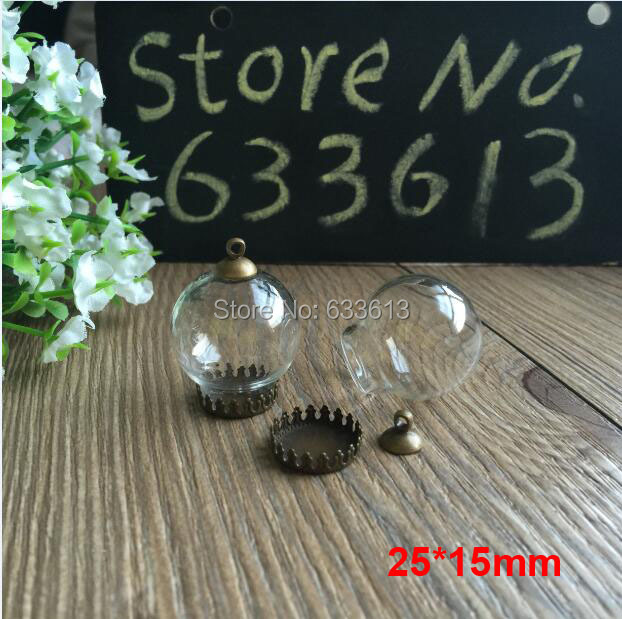 Freeship 50sets 25 15mm Glass global vial bronze crown base pendant 8mm cap connector glass round