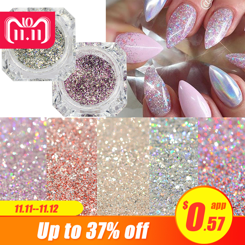 1Box Platinum Shiny Nail Glitter Powder Laser Sparkly Diamond Manicure Nail Art Chrome Pigment DIY Nail Art Decoration LABG01-26