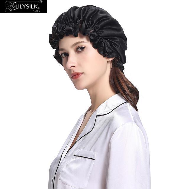 Lilysilk Seda Dormir Cap 19mm Gorro Preto Ano Novo presente Mulheres Chapéu Do Inverno Elásticos Acessórios para o Cabelo Senhora Noite Gorras