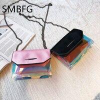 Bag Women Hand small Clutches Cute Transparent Hologram PVC Bag Flap Clear Small Chain Mini Messenger Handbag
