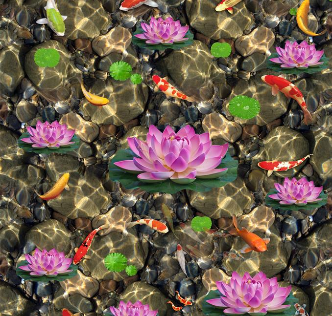 цены  high quality 3d floor custom self adhesive wallpaper Lotus carp stone 3d floor murals bathroom kitchen wallpaper 3d floor murals