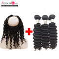 360 Lace Frontal With 3 Bundles Brazilian deep Wave Virgin Human Hair 360 Lace Frontal Closure Bleached Knot Baby Hair