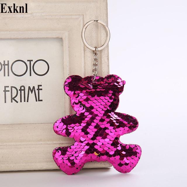 Exknl Brand Keychain Star Bag Women Key Ring Holder Bear Cat Car Bag Keyring Finder Pendant Tag Heart Jewelry Cute Keychains