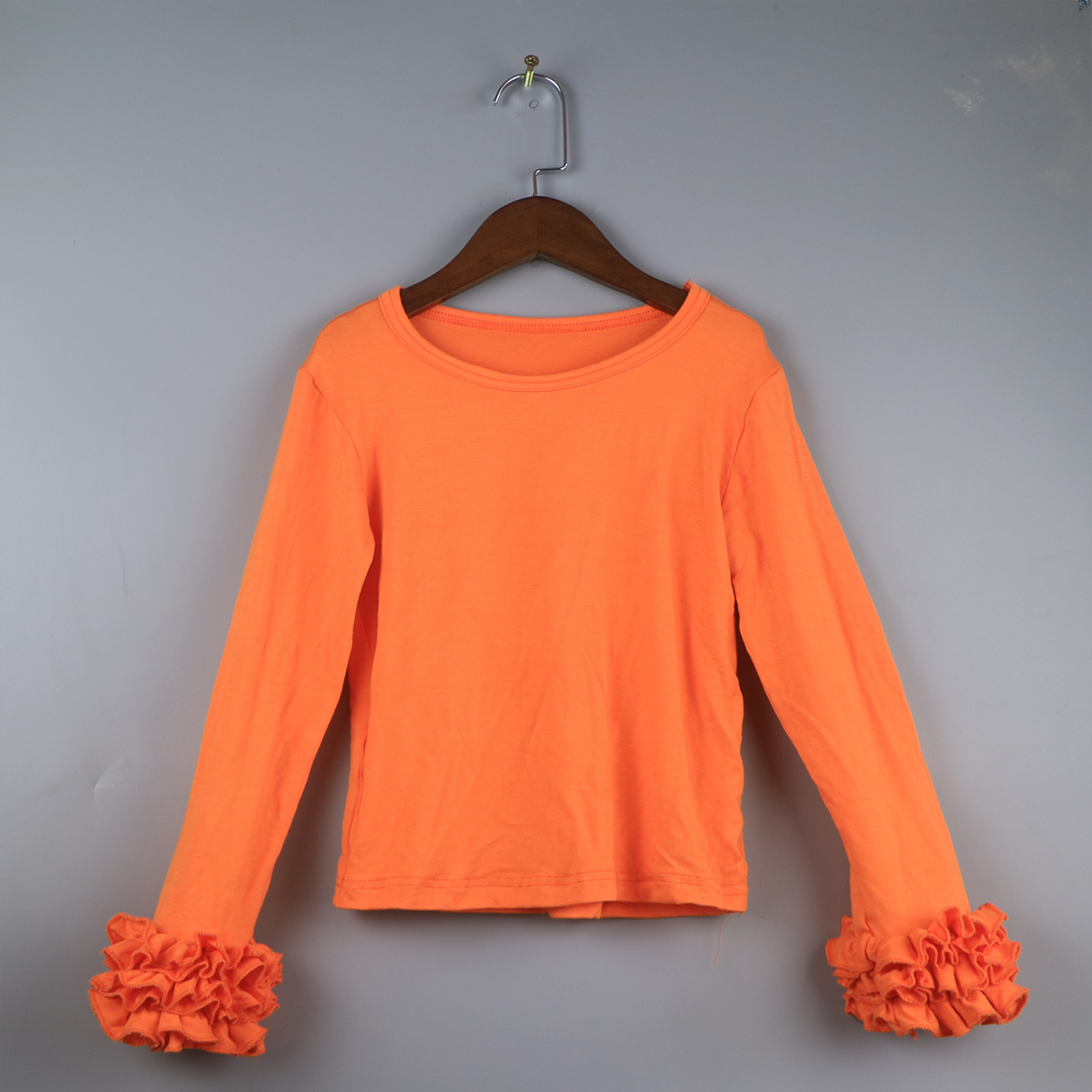 ff06af27e617 monogram icing shirts children ruffled sleeve t-shirt girls variety color  outfits dress long sleeve tees orange tone