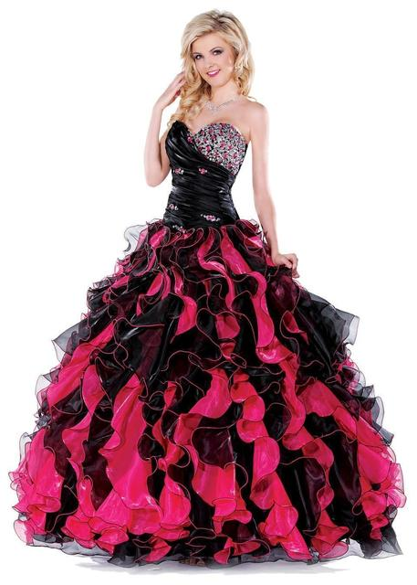 Cheap Black And Hot Pink Quinceanera Dress Beaded Bodice Sweet 16
