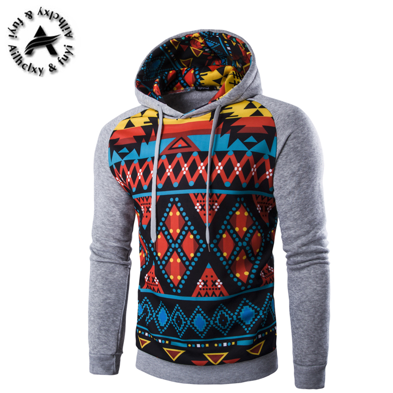 Autumn Jackets Brand Clothing 2016 New Fashion Coats National Wind Digital Diamond Print Design Men Casual Hooded Sweatshirts