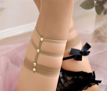 Strappy Top Fishnet Thigh High Stockings